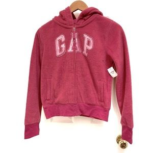 GAP Kids Pink Sequin Logo Zip-up Fleece Sweater